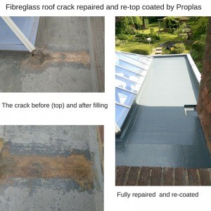 1-Fibreglass Roof crack repaired and re-top coated (1)